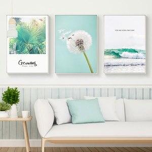 Скандинавский простой маленький свежий зеленый Растительный холст, картина, креативный английский тройной пейзаж, постеры, гостиная, Насте...