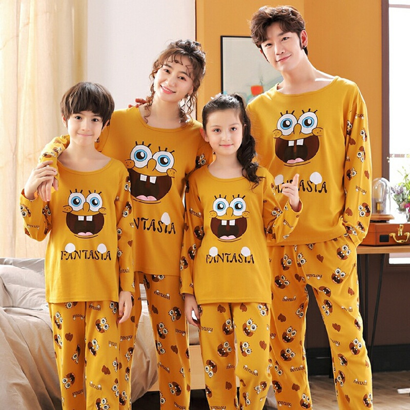 Family Matching Pajamas Set Father Son Night Wear Romper Cotton Pajamas Mother Daughter Clothes Pyjamas 1