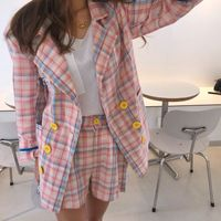 Women Blazers Sets Summer Autumn Korea Plaid casual Coats Long Sleeve Suit Jackets high waist shorts Two Piece Suits