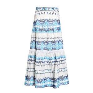 Image 2 - Женская юбка с кисточками TWOTWINSTYEL, винтажная Макси юбка с высокой талией, принтом и пуговицами на лето 2020
