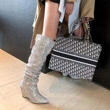 Prova perfetto feminino dedo do pé apontado bling sobre o joelho strass botas de cristal botas de salto alto de luxo botas de salto fino