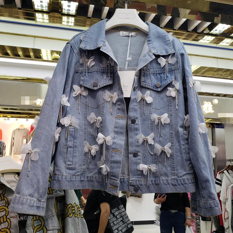 2019 nouveau arc fleur décoration lâche courte veste en denim
