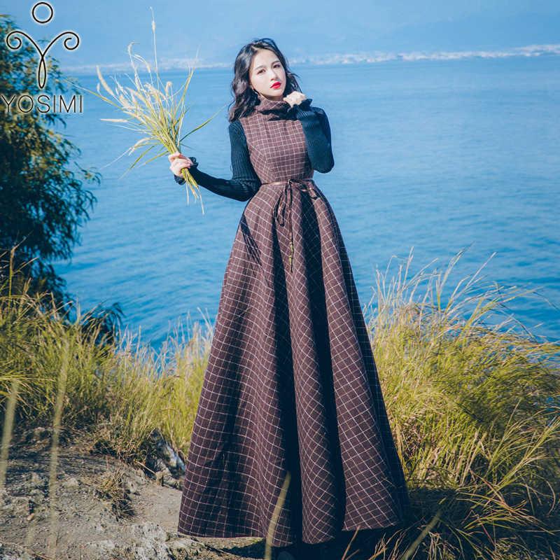 YOSIMI, Осень-зима 2018, винтажный женский костюм из двух частей, женский шерстяной костюм длиной до щиколотки, черная блузка + Макси клетчатый жилет, длинное платье
