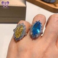 925 Sterling Silber Ring Weiblichen Luxus 9*18mm Marquise Cut Farbige SONA Simulation Diamant Schmuck