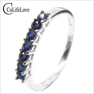 Image 1 - 100% الطبيعية الأزرق الداكن خاتم من الياقوت الأزرق للمرأة 7 قطعة 2.5 مللي متر SI الصف خاتم من الياقوت الأزرق الصلبة 925 الفضة خاتم من الياقوت الأزرق رومانسية هدية
