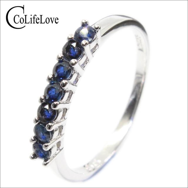 100% الطبيعية الأزرق الداكن خاتم من الياقوت الأزرق للمرأة 7 قطعة 2.5 مللي متر SI الصف خاتم من الياقوت الأزرق الصلبة 925 الفضة خاتم من الياقوت الأزرق رومانسية هدية