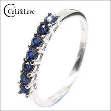 100% naturalny ciemny niebieski szafir pierścień dla kobiety 7 sztuk 2.5 Mm SI klasy szafirowy pierścień stałe 925 srebrny szafirowy pierścień romantyczny prezent