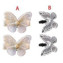 Women Girls Alligator Hair Clips White Embroidered 3D Butterflies Hairpin Sweet Fairy Side Bangs Decorative Barrettes(China)