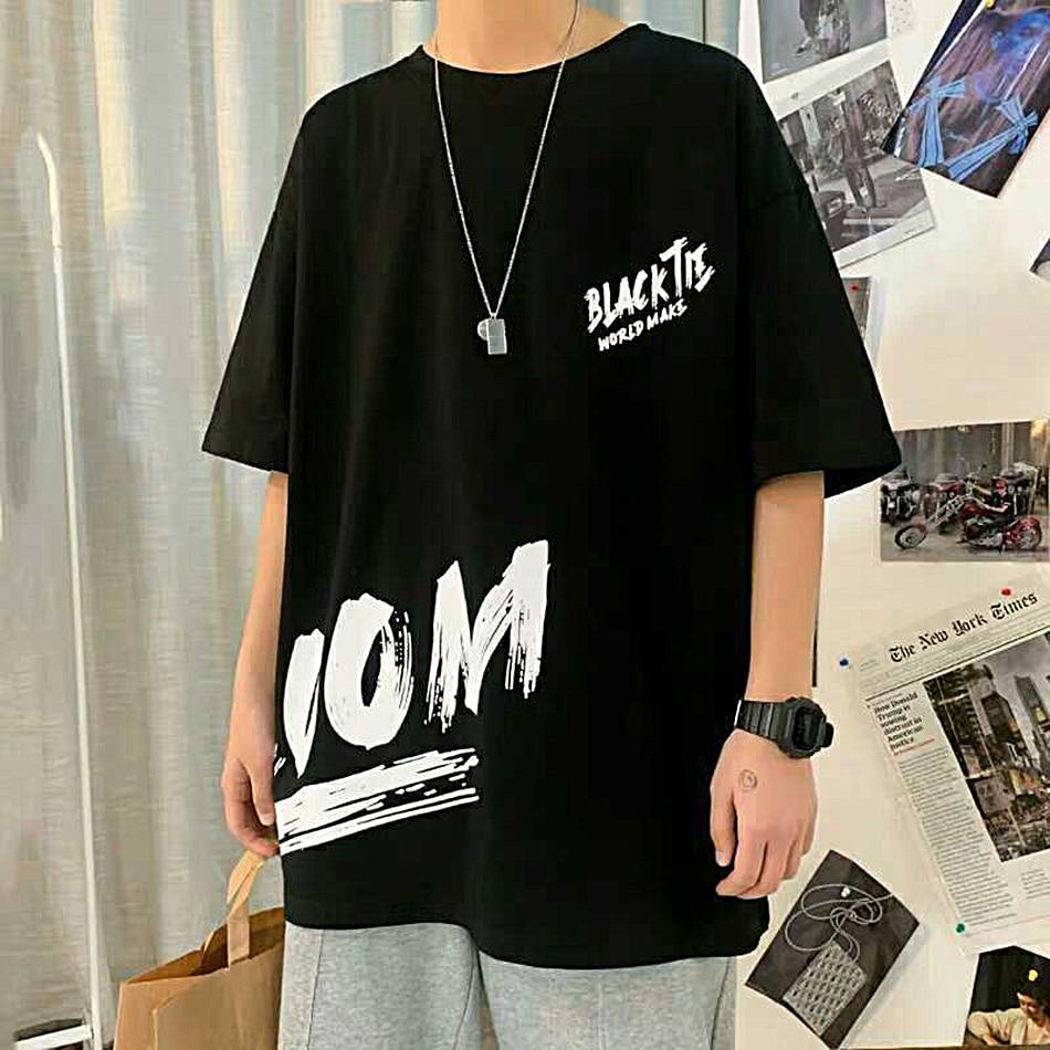Летняя мужская Свободная футболка в гонконгском стиле с коротким