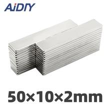 AIDIY 5Pcs 50 x 10 2mm N35 Neodymium Magnet Block Square Super Strong Power Rare Earth Magnets Rectangular *