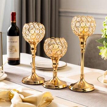 European Style Metal  Handicraft Golden Glass Centerpieces Candle Holder 1