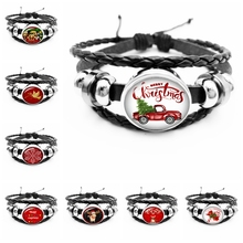 2020 New Hot Christmas Series Santa Claus and Deer Pattern Glass Cabochon Fashion Leather Men's Bracelet Men's Jewelry Gift