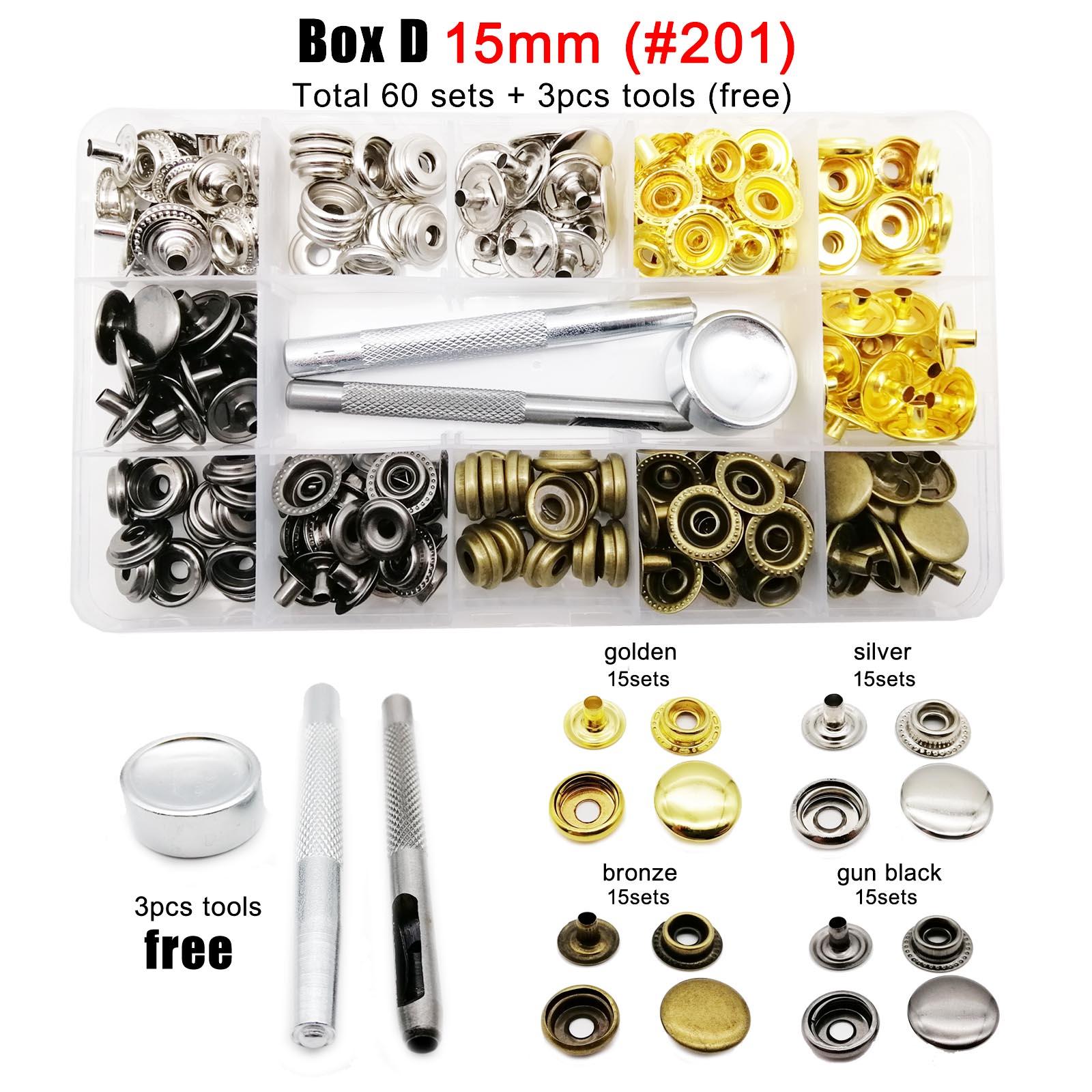 60/100 conjuntos 10mm 12.5mm 15mm metal snap prendedor botão imprensa popper com ferramenta saco de couro roupas jaqueta reparação sortimento kit