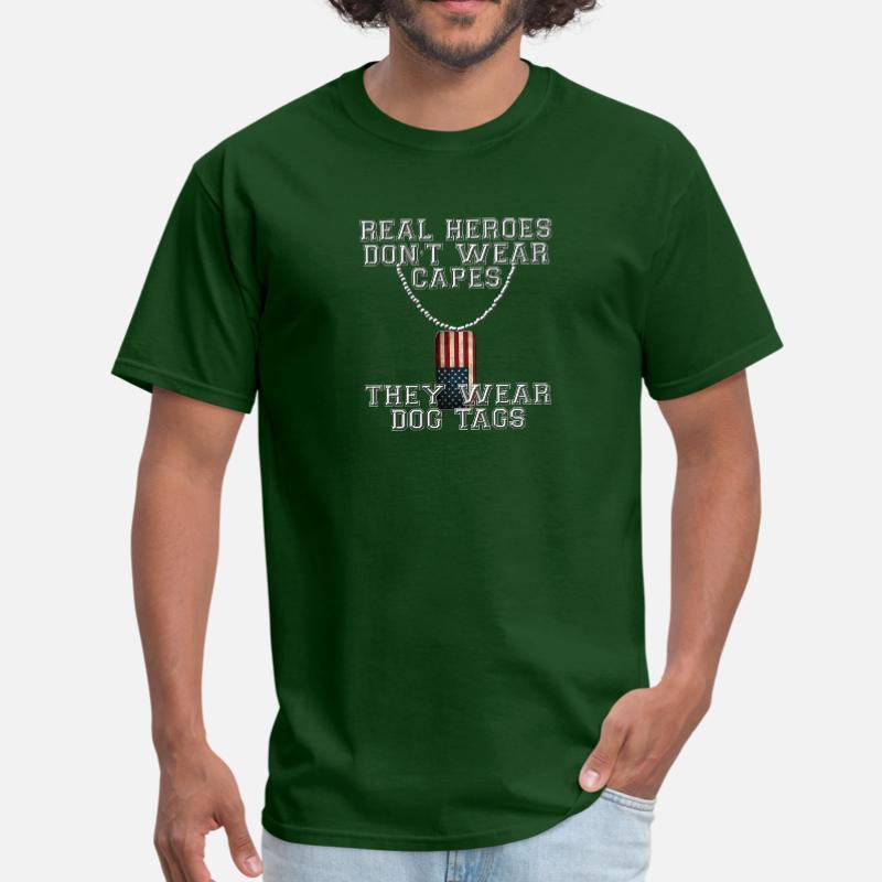 Real Heroes Wear Dog Tags Mens Funny Military T-Shirt Paras Marines Army Veteran