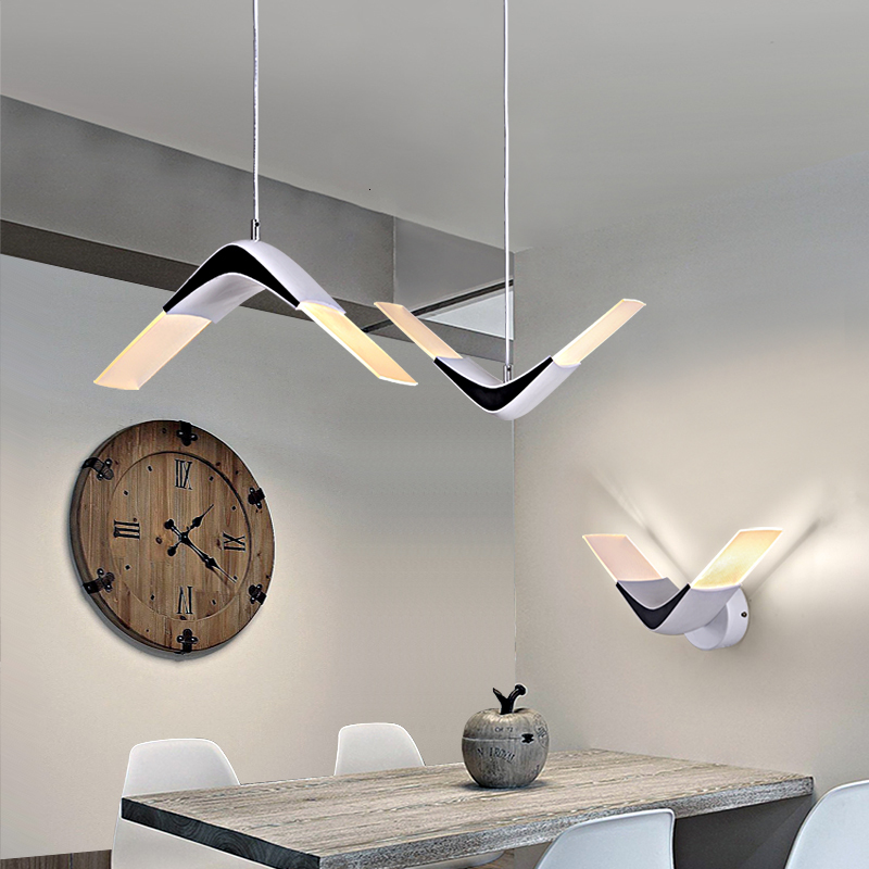 Modern Geometric Art Pendant Lights Nordic Line Hanging Lamp Loft Industrial Home Decor Kitchen Light Fixture Luminaire