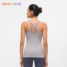Colorvalue Padded Slim Fit Bodybuilding Sports Vest Women Soft Nylon Running Fitness Tank Tops Anti-sweat Yoga Sleeveless Shirts