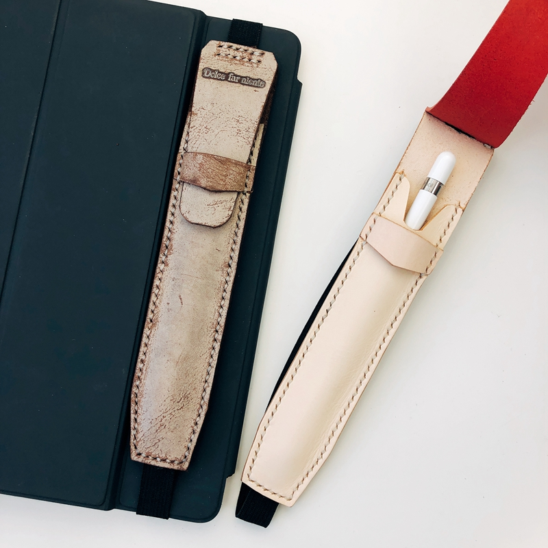 Handmade Leather Apple Pen 2 Touch Pen Case Holder Protable Elastic Belt Pen Bag For IPad Pro