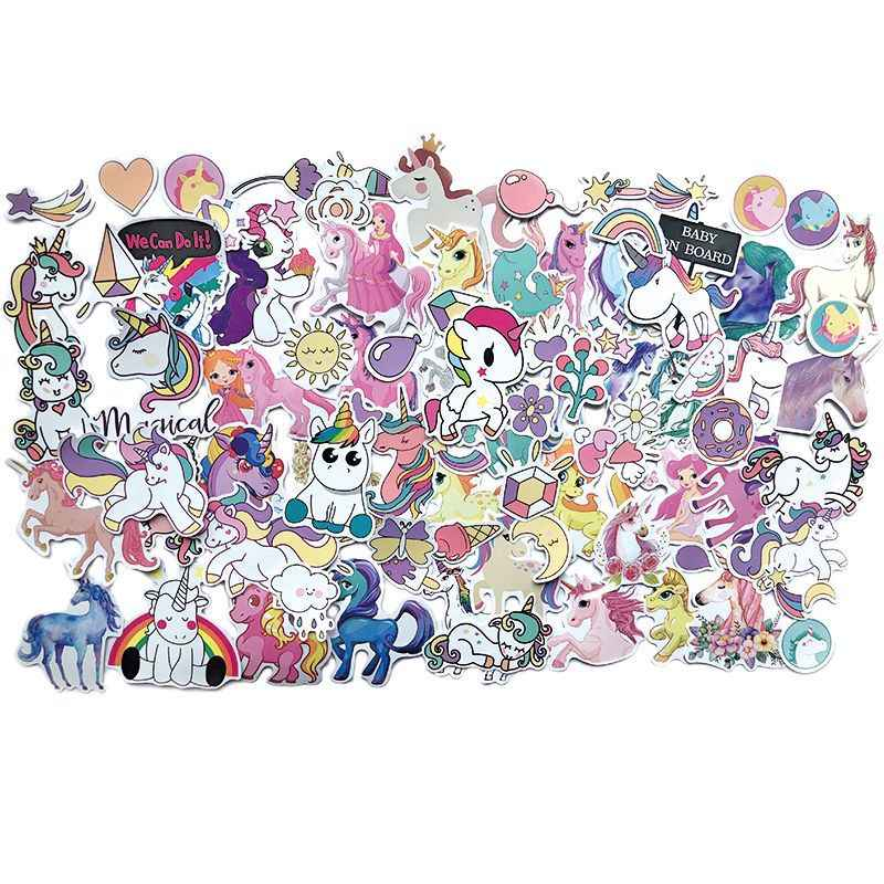 7/94 Uds pegatinas de unicornio PVC de dibujos animados pegatinas de unicornio impermeable Notebook Skateboard Laptop pegatinas para niños Juguetes