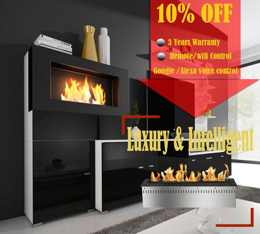 On Sale 48'' Luxury Bio Etanol Chimney Google Home Voice Controled Ethanol Fire Insert