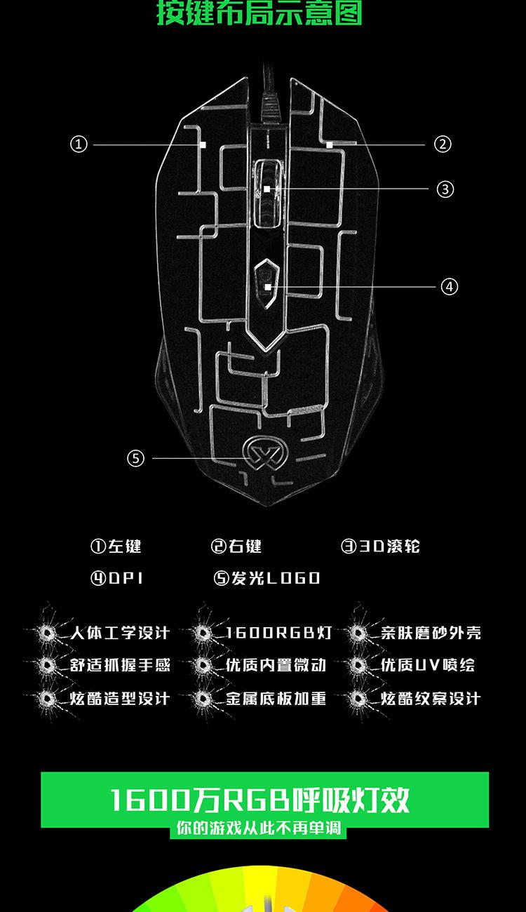 Мышь Компьютерная xq Проводная эргономичная с подсветкой usb