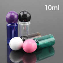 Free Shipping 10ml Plastic Water Bottles Refillable Small Inner Plug Ball Cap Cosmetic Container Essential Oil Perfume Packaging