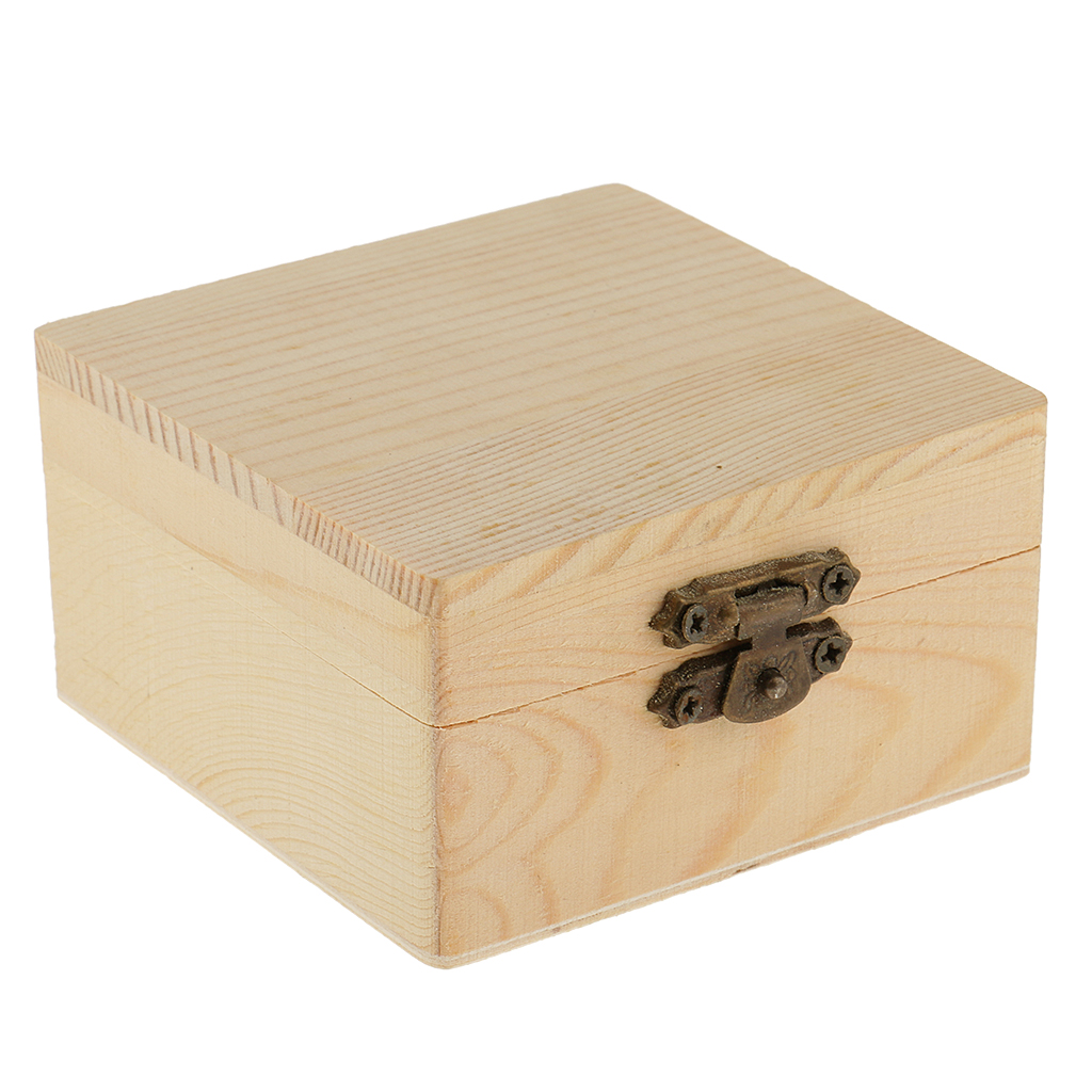 Blank Unfinished Square Shape Wooden Box Gift Jewelry Box DIY Base For Kids Toys Crafts
