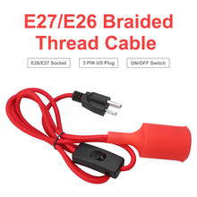 Red 5 feet 1.5m Light Socket Hanging Light Cord Extension Cable E26/E27 Socket On/Off Button Switch US Plug Pendant Bulb Holder 1 8m eu us plug switch line cable on off power cord for led lamp with button switch light switching white black wire extension