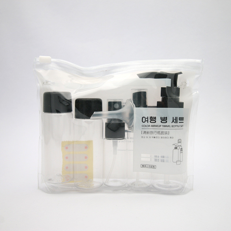 7pcs/set Portable Flight Travel Size Bottle Pack Liquid Containers Shampoo Cream Cosmetics Refilable Bottles Drop Shipping