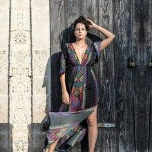 2020 Bohemian Women Summer Beach Dress Swim Wear Cover Up Cotton Tunic Sexy Deep V Neck Robe Caftan Bikini Cover ups pareo #Q645