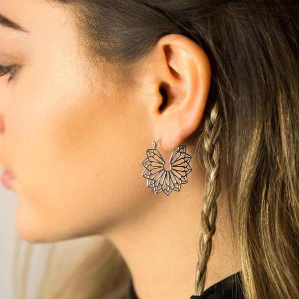 Antike silber Gypsy Indischen Tribal Ethnic Hoop Baumeln Mandala Durchbrochene blumen Ohrringe Böhmen schmuck Korb schnalle ohrring