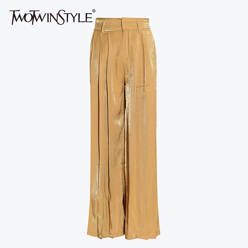 TWOTWINSTYLE White Casual Trousers For Women High Waist Large Size Loose Straight Pants Female Spring Fashion New Clothing 2020