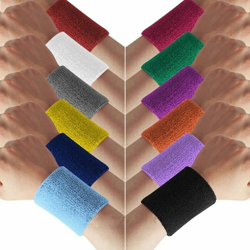 Terry Cotton Sweatband  WristBand Sports Tennis Yoga Arm Sweat Absorbed Sleeve Wraps Towel Band Bracers Wrist Wrap Arm Cuffs