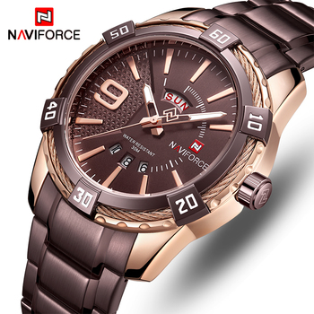NAVIFORCE Men's Luxury Stainless Steel Calendar Date Display Waterproof Quartz Watches