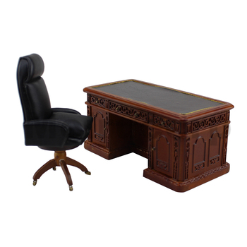 Dollhouse furniture 1:12 scale Miniature well Hand Office desk and swivel chair