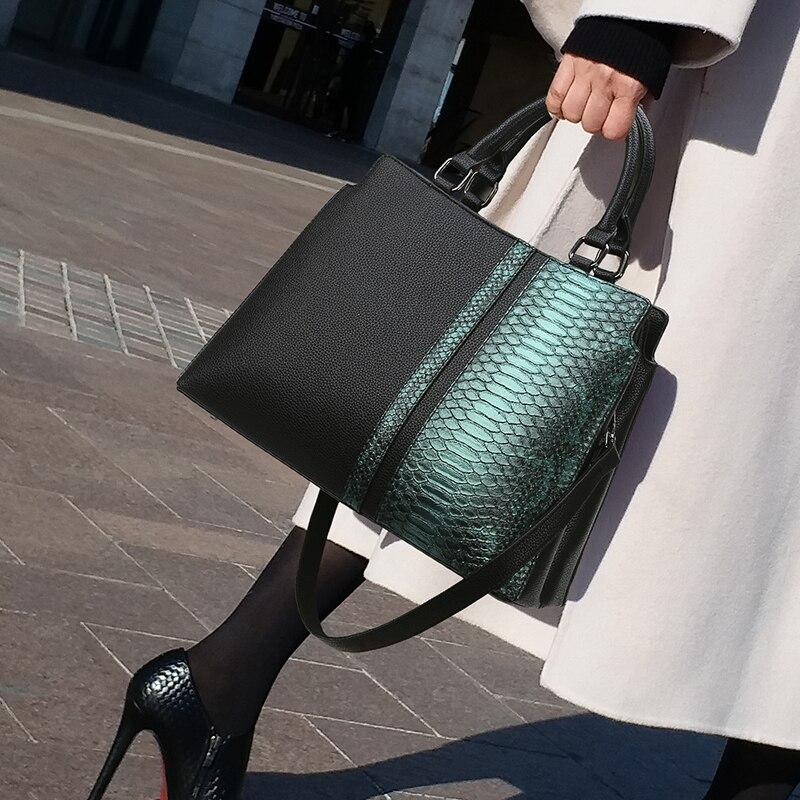 Luxury Crocodile Pattern Women Leather Messenger Handbags Ladies Green Color Party Shoulder Crossbody Bags Sac A Main