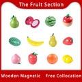 Игрушка Woo деревянная игрушка для резки фруктов сборка еды деревянные кухонные игрушки деревянная Магнитная игрушка фрукты продаваемые иг...