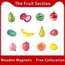 Brinquedo woo madeira corte de frutas brinquedo juguetes conjunto comida de madeira cozinha brinquedos ímã de madeira brinquedo frutas único vendido fingir jogar unisex