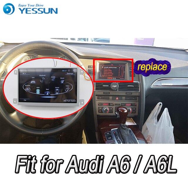 مشغل وسائط للسيارة أودي A6 A6L 2005 ~ 2011 يعمل بنظام أندرويد راديو تلقائي استريو ونظام تحديد المواقع والملاحة والوسائط المتعددة