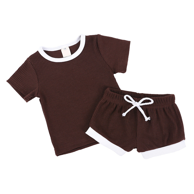 2Pcs Baby Clothes Summer Toddler Infant Girls Boys Clothes Cotton Casual Short Sleeve Tops T-shirt+Shorts Baby Outfit Set 5