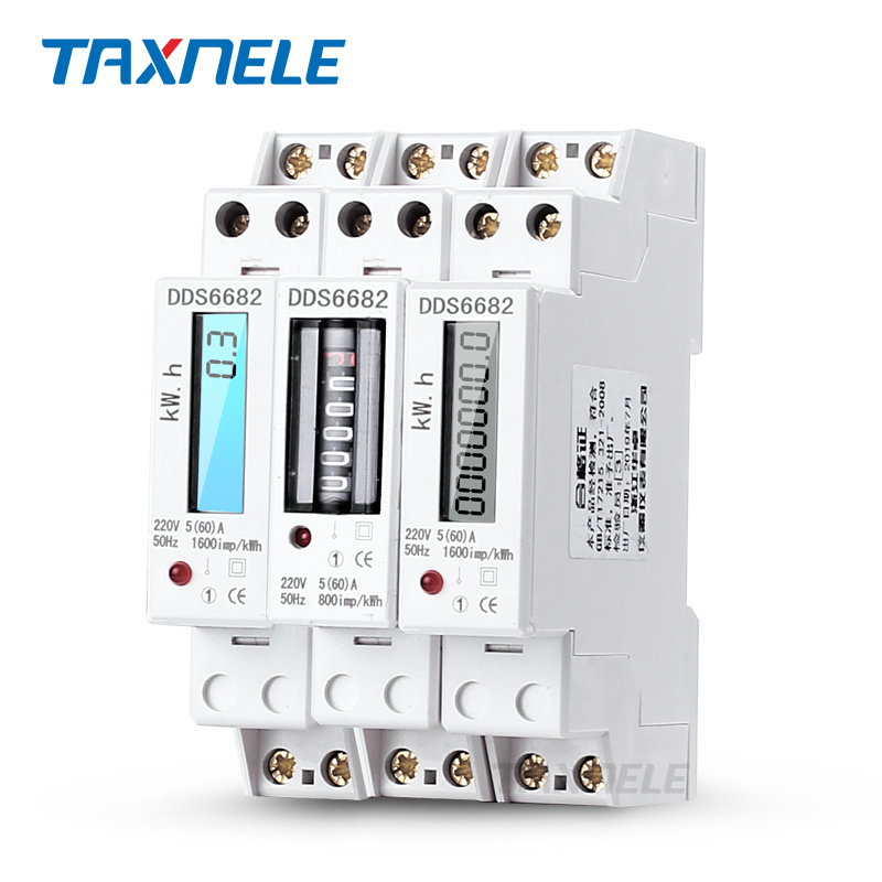 Single Phase Two Wire LCD Backlit Wattmeter Power Consumption Watt Energy Meter kWh 5-60A 230V 50Hz Electric Din Rail Mount image