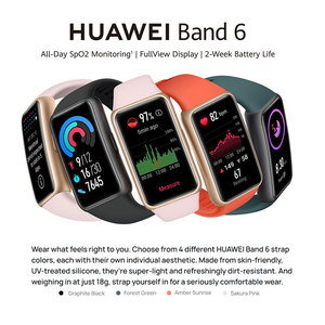 Image 2 - 100% Original Huawei Band 6 Wristbands Blood Oxygen Heart Rate Tracker 1.47 inch AMOLED Smartband