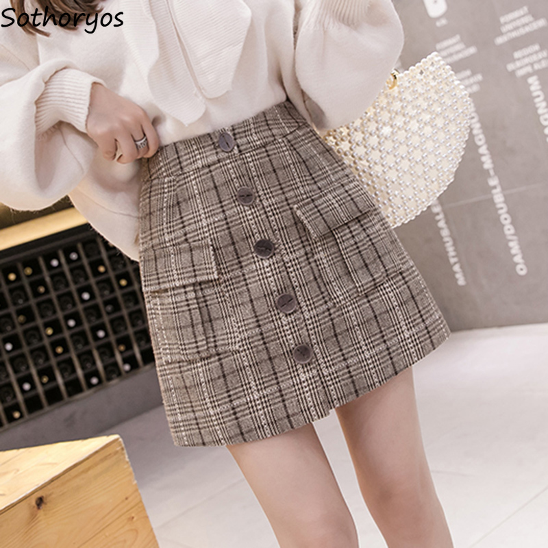 Skirts Women Simple Plaid Pockets Single Breasted Harajuku Woolen High Quality Ladies A-Line Womens Slim Girls Skirt 2020 Mini
