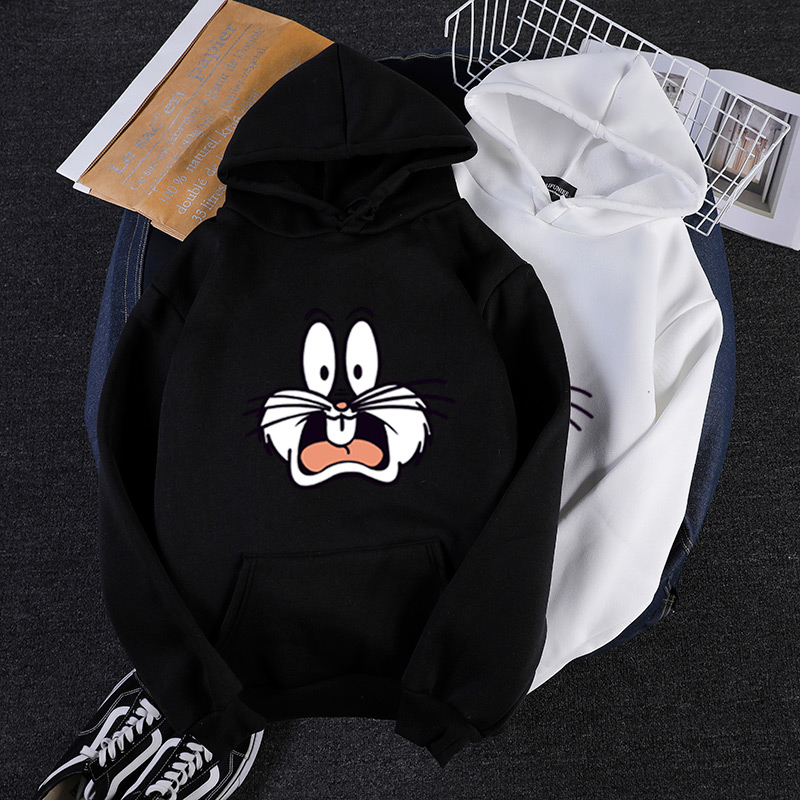 2020 Winter Funny rabbit cartoon print men's hoodies men oversized harajuku sweatshirt casual hip hop fashion white streetwear