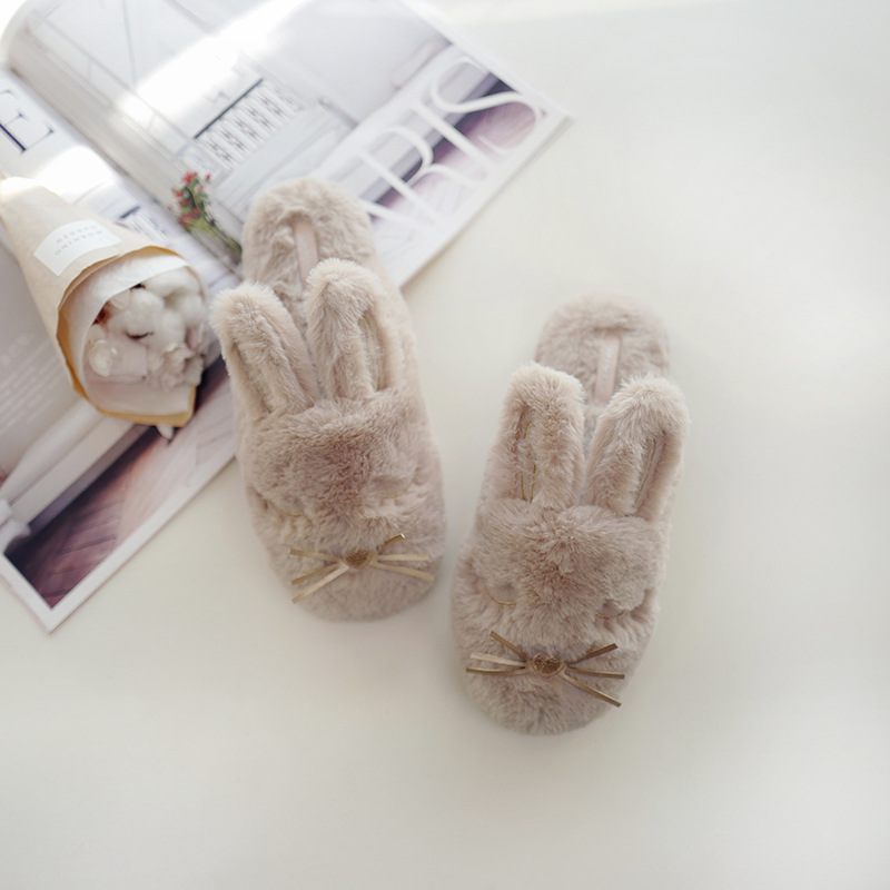 Halluci New Products Winter Small Dehaired Angora Stereo Big Ear Rabbit Warm Home Anti-slip Indoor Floor Cotton Slippers