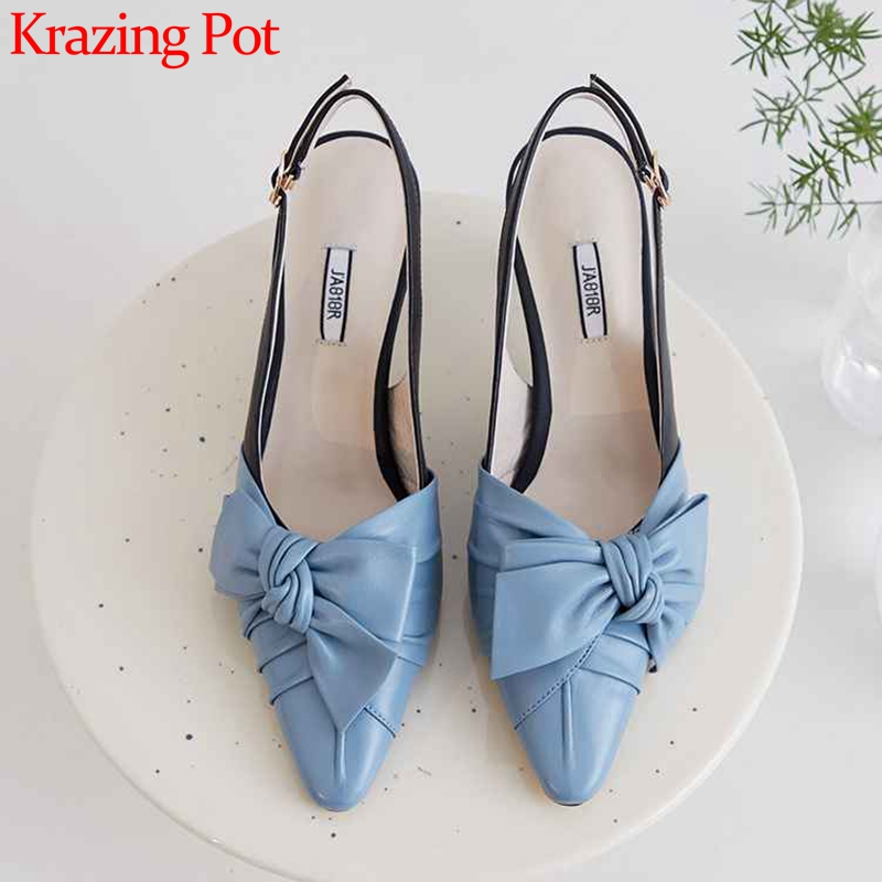 Krazing Pot Sweet Mixed Colors Bowtie Genuine Leather Shoes Pointed Toe Stiletto High Heels Fashion Buckle Slingback Pumps L51