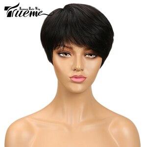 Image 2 - Truemeナチュラルダークブラウン赤ワイン色人毛 100% かつら黒人女性のためのピクシーカットフルかつらレミーブラジルの髪