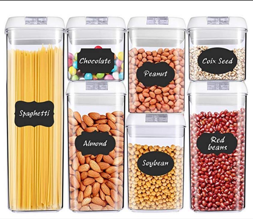 식품 저장 용기 플라스틱 주방 보관 상자 multigrain 보관 탱크 투명 봉인 된 캔 다기능 버클이 용이함