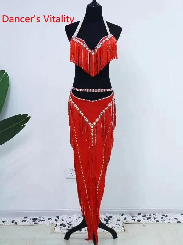 Women Belly Dance Group Competition Suit Slap-up Tassel Bra Diamond Skirt Set Drum Oriental Indian Dancing Performance Outfits