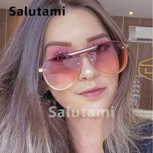 Thick Crystal Frame Oval Sunglasses For Women Luxury Brand One Piece Colorful Eyewear Men Vintage Alloy Rivet Sun Glasses Female