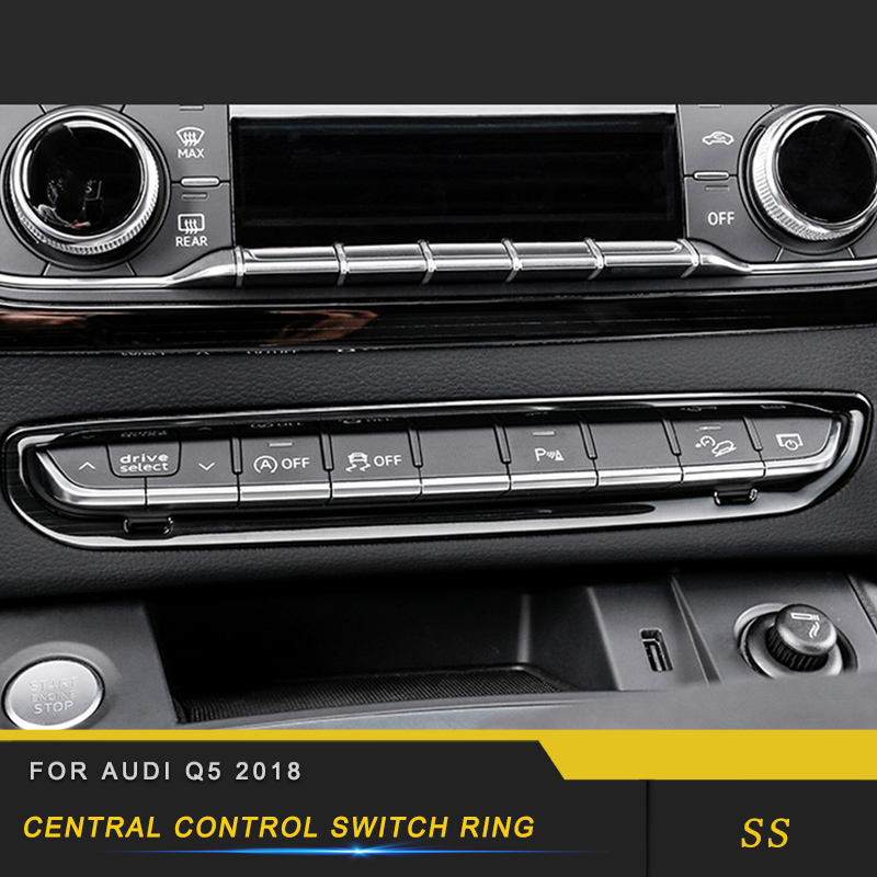 For Audi Q5 FY 2018 Car Styling Center Console Central Control Panel Cover Trim Frame Sticker Chrome Interior Accessory